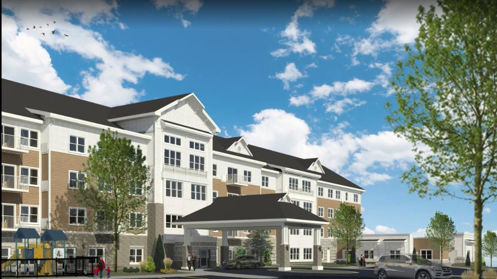 rendering of the exterior of riley crossing senior living community