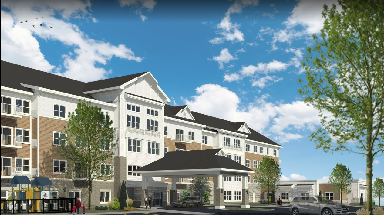 rendering of the exterior of riley crossing senior living community